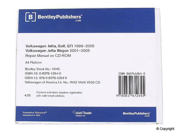 Bentley - Mk4 Bentley Repair Manual DVD for Golf/Jetta
