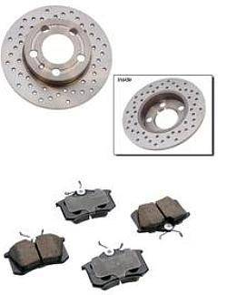 KermaTDI - Mk4 Premium+ Cross Drilled Rear Brake Package for TDI and 2.0 (232x9mm rotor size)